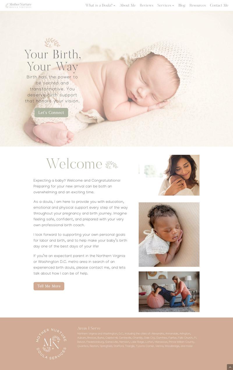 birth doula website design makeover