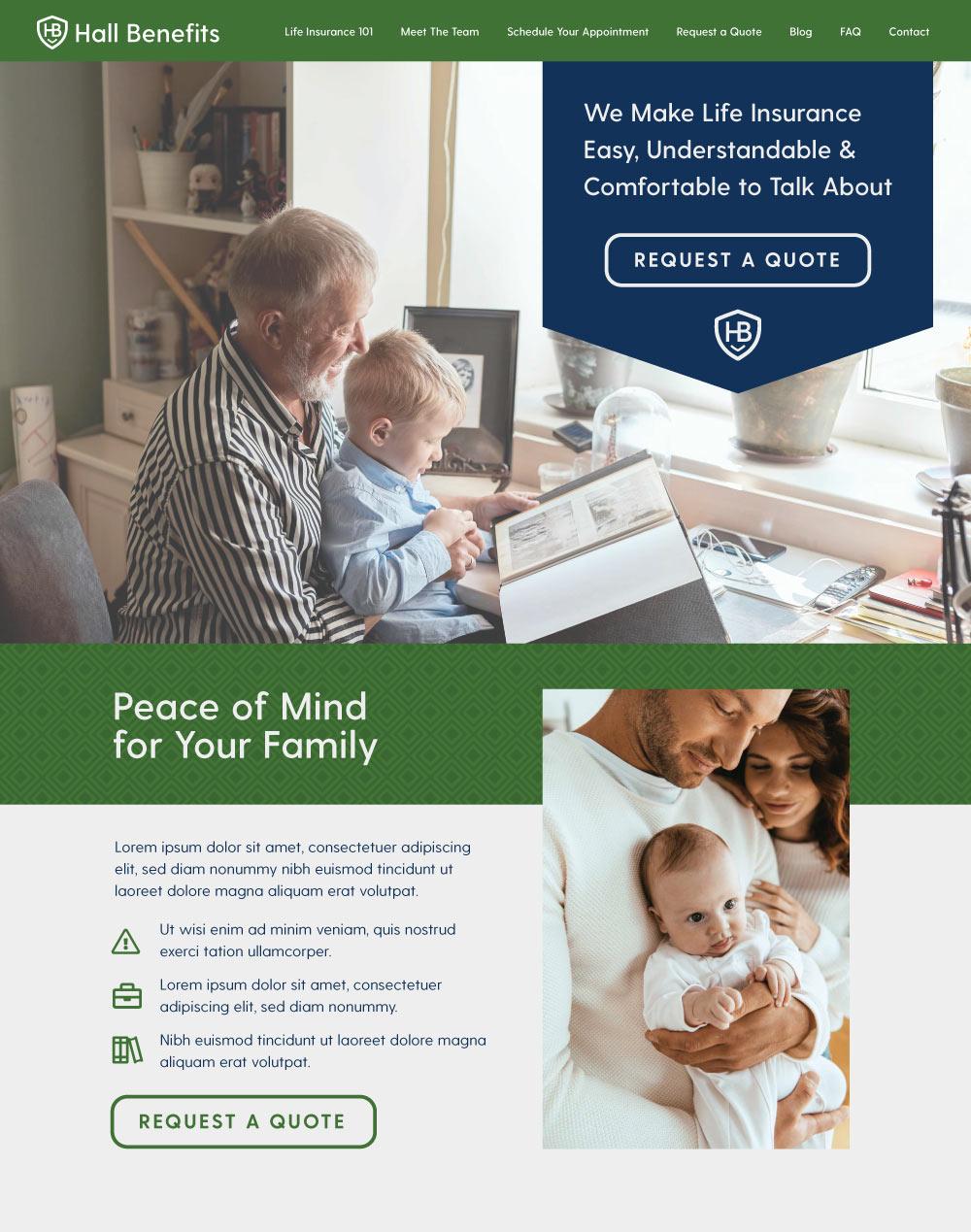 life insurance website design